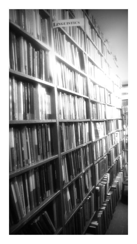 linguistics bookshelf powells bw