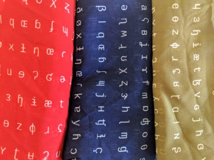 IPA scarves in red, navy, olive