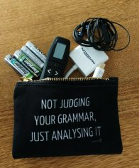 NOT JUDGING YOUR GRAMMAR, JUST ANALYSING IT zip pouch in small