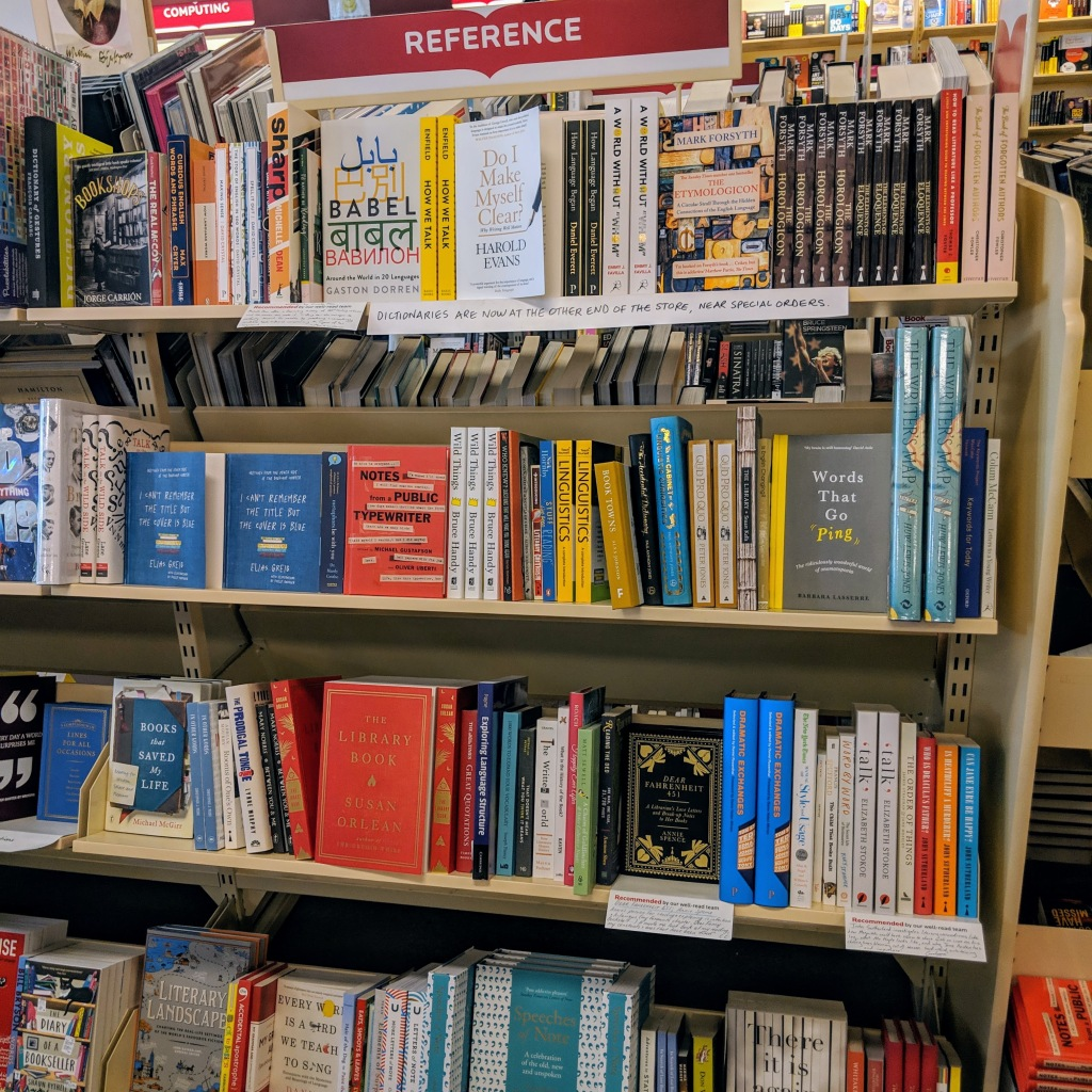 Reference section featuring linguistics books at ReadeBook in Adelaide, South Australia